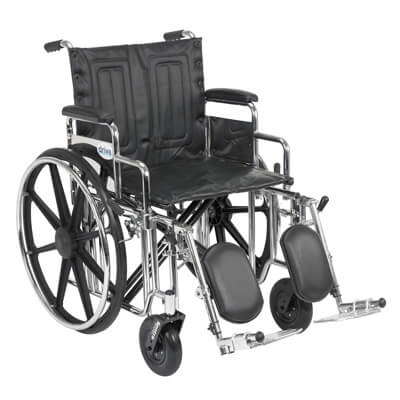 Drive Medical Sentra Extra Heavy Duty Wheelchair with Detachable Desk Arms and Elevating Leg Rest Model std20dda-elr