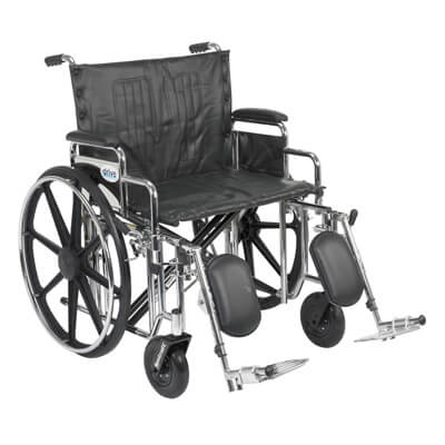Drive Medical Sentra Extra Heavy Duty Wheelchair with Detachable Desk Arms and Elevating Leg Rest std24dda-elr