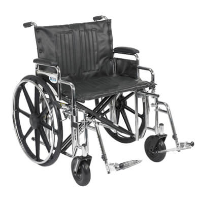 Drive Medical Sentra Extra Heavy Duty Wheelchair with Detachable Desk Arms and Swing Away Footrest Model std24dda-sf