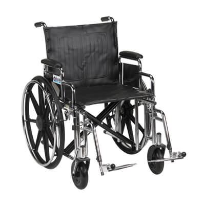 Drive Medical Sentra Extra Heavy Duty Wheelchair with Detachable Desk Arms and Swing Away Footrest Model std20dda-sf