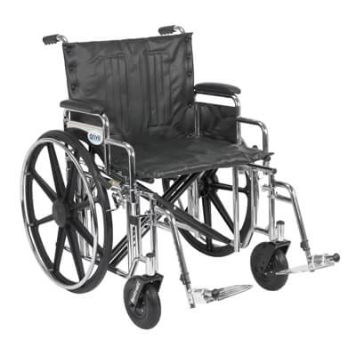 Drive Medical Sentra Extra Heavy Duty Wheelchair with Detachable Desk Arms and Swing Away Footrest Model std22dda-sf