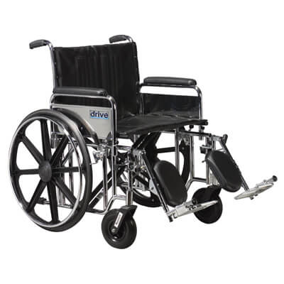 Drive Medical Sentra Extra Heavy Duty Wheelchair with Detachable Full Arms and Elevating Leg Rest std24dfa-elr