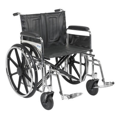 Drive Medical Sentra Extra Heavy Duty Wheelchair with Detachable Full Arms and Swing Away Footrest std24dfa-sf