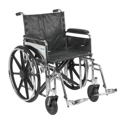Drive Medical Sentra Extra Heavy Duty Wheelchair with Detachable Full Arms and Swing Away Footrest std20dfa-sf