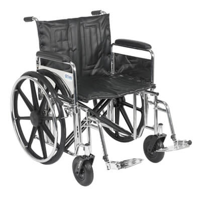 Drive Medical Sentra Extra Heavy Duty Wheelchair with Detachable Full Arms and Swing Away Footrest std22dfa-sf