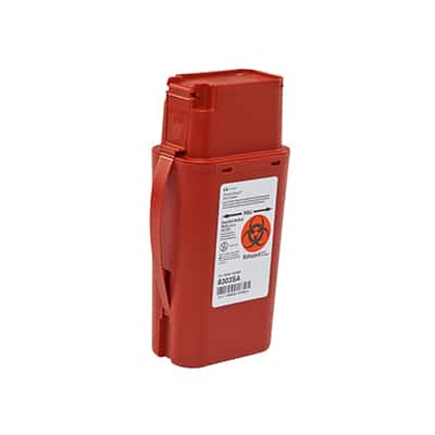 Sharps Transport Container SharpSafety 8-¾H X 2-½ D X 4-½ W Inch 1 Quart Red