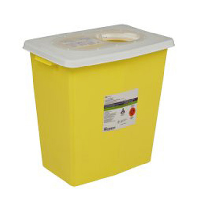 SharpSafety Chemotherapy Sharps Container 1-Piece 18.75H x 18.25W x 12.75D in 12 Gallon Yellow Base / White Lid Vertical Entry Sliding Lid