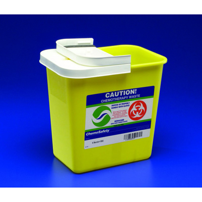 SharpSafety Chemotherapy Sharps Container 1-Piece 26H x 18.25W x 12.75D in 18 Gallon Yellow Base Hinged Lid PG2