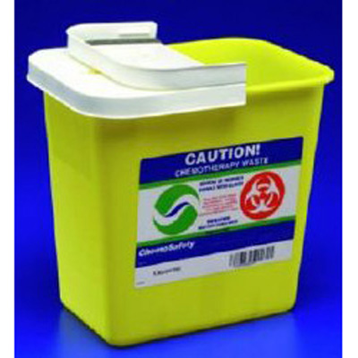 SharpSafety Chemotherapy Waste Container 1-Piece 18.75 H x 12.75 D x 18.25 W in 12 Gallon Yellow Base / White Lid Vertical Entry Hinged Lid
