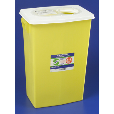 SharpSafety Chemotherapy Waste Container 18 Gallon Yellow Base Vertical Entry Sliding Lid