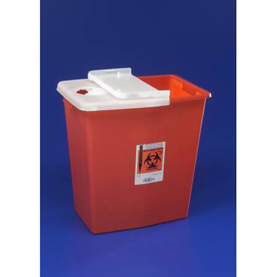 SharpSafety Multi-purpose Sharps Container 1-Piece 18.75H x 18.25W x 12.75D in 12 Gallon Red Base Vertical Entry Sliding Lid