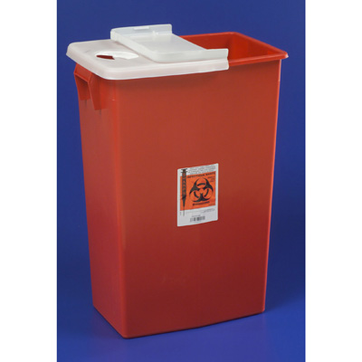 SharpSafety Multi-purpose Sharps Container 1-Piece 26H x 18.25W x 12.75D in 18 Gallon Red Base Hinged Lid