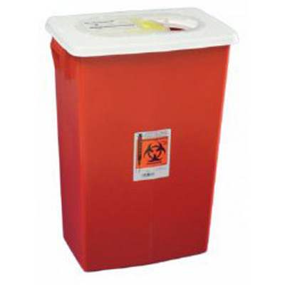 SharpSafety Multi-purpose Sharps Container 1-Piece 26H x 18.25W x 12.75D in 18 Gallon Red Base Hinged Lid PG2