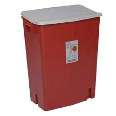 SharpSafety Perfusion Waste Container Nestable 27.5 H x 15.25 D x 21.25 W in 30 Gallon Red Base / White Lid Gasketed Hinged Lid, Sealed