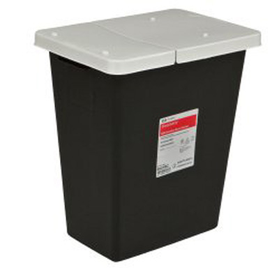 SharpSafety RCRA Waste Container 17.75 H x 11 D x 15.5 W in 8 Gallon Black Base / White Lid Vertical Entry Hinged Lid