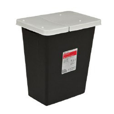 SharpSafety RCRA Waste Container 26 H x 12.75 D x 18.25 W in 18 Gallon Black Base / White Lid Vertical Entry Hinged Lid