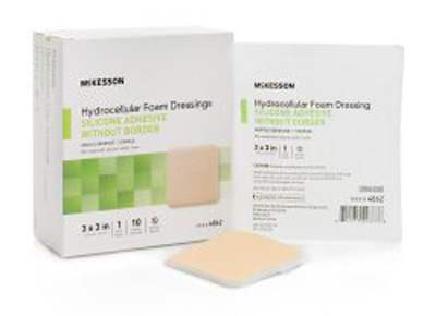 Silicone Foam Dressing McKesson 3 X 3 Inch Square Silicone Gel Adhesive without Border Sterile
