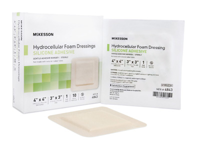 Silicone Foam Dressing McKesson 4 X 4 Inch Square Silicone Adhesive with Border Sterile