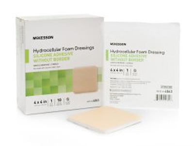 Silicone Foam Dressing McKesson 4 X 4 Inch Square Silicone Gel Adhesive without Border Sterile