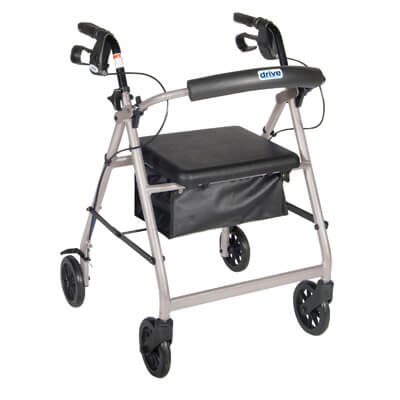 Drive Medical Silver Rollator Walker with Fold Up and Removable Back Support and Padded Seat r726sl