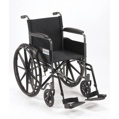 Drive Medical Silver Sport 1 Wheelchair with Full Arms and Swing away Removable Footrest ssp118fa-sf