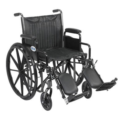 Drive Medical Silver Sport 2 Wheelchair with Detachable Desk Arms and Elevating Leg Rest ssp220dda-elr