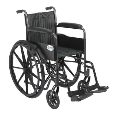 Drive Medical Silver Sport 2 Wheelchair with Swing Away Footrest Model ssp218fa-sf