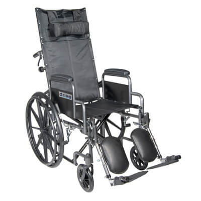 Drive Medical Silver Sport Reclining Wheelchair with Detachable Desk Length Arms and Elevating Leg rest Model ssp18rbdda