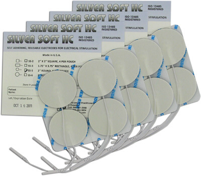 DuraTENS (SilverSoft HC Premium) TENS Silver Electrodes 2 in Round, White Foam Backed - 16 Pads