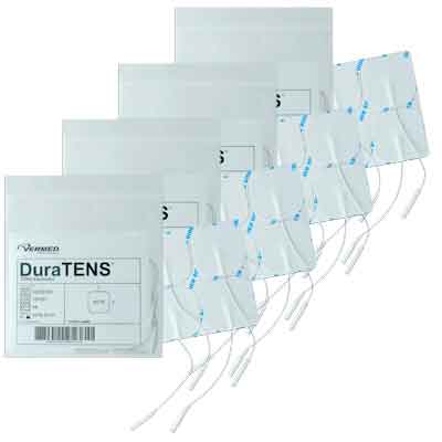 DuraTENS (SilverSoft HC Premium) TENS Silver Electrodes 2 x 2 in Square, White Foam Backed - 16 Pads