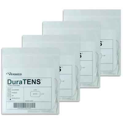 DuraTENS (Formerly SilverSoft HC Premium) TENS Silver Electrodes 1.75 x 3.75 in Rectangle, White Foam Backed - 16 Pads