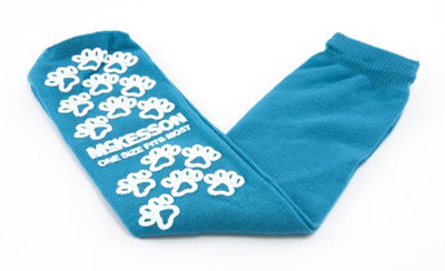Slipper Socks McKesson Paw Prints One Size Fits Most Teal Above the Ankle