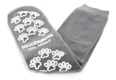 Slipper Socks McKesson Terries Adult 2 X-Large Gray Above the Ankle