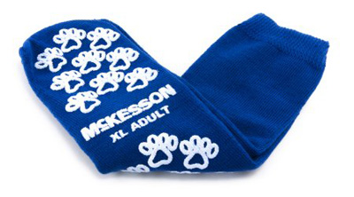 Slipper Socks McKesson Terries Adult X-Large Royal Blue Above the Ankle - 40-3816-001