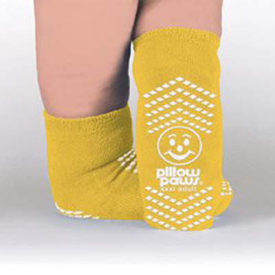 Slipper Socks Pillow Paws Bariatric 3 X-Large Yellow Ankle High