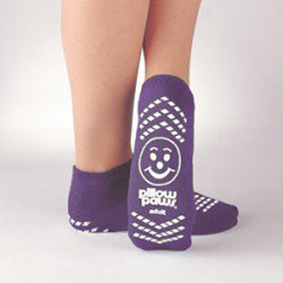 Slipper Socks Pillow Paws Risk Alert 2 X-Large Purple