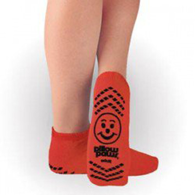 Slipper Socks Pillow Paws Risk Alert Terries 2 X-Large Red Ankle High