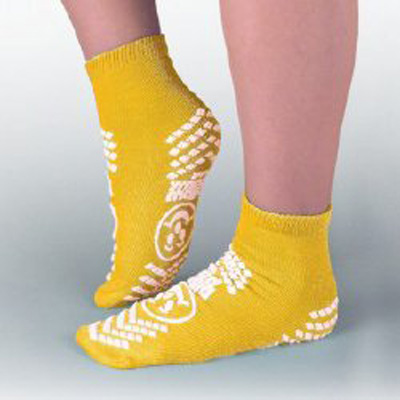 Slipper Socks Pillow Paws Risk Alert Terries 2 X-Large Yellow Ankle High