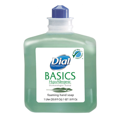 Dial Basics Foaming 1 Liter Dispenser Refill Bottle Honeysuckle Scent Soap - Case of 6