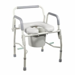 Drive Medical Steel Drop Arm Bedside Commode with Padded Seat & Arms Model 11125pskd-1