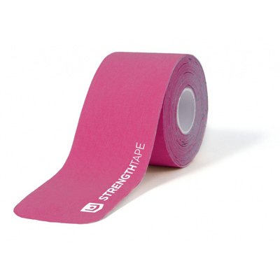 StrengthTape 5m (16.7) Roll of 20 Pre-Cut 10 in Kinesiology Tape Strips - Hot Pink - 1 ea.