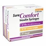 Sure Comfort Half Unit Insulin Syringes - 31 G, 0.3 cc, 5/16 in - 100 ea - 22-6504