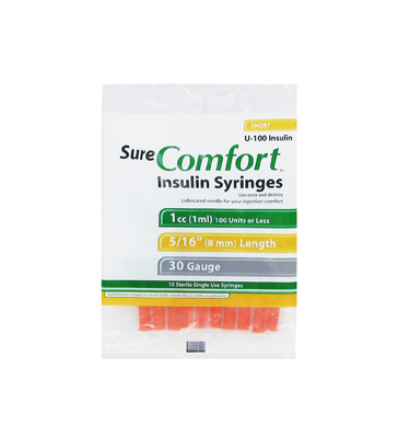 Sure Comfort 30 Gauge 1 cc 5/16 in Insulin Syringes - 10 ea