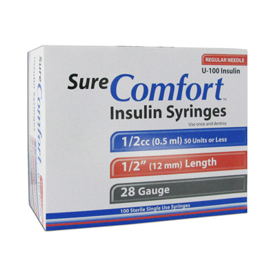 Sure Comfort Insulin Syringes - 28 Gauge 0.5 cc 1/2 in - 100 ea - Model 22-8005