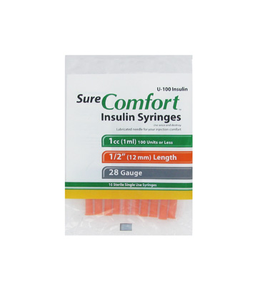 Sure Comfort 28 Gauge 1 cc 1/2 in Insulin Syringes - 10 ea Model
