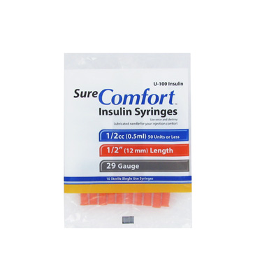 Sure Comfort 29 Gauge 0.5 cc 1/2 in Insulin Syringes - 10 ea