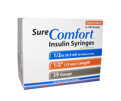 Sure Comfort 29 Gauge 0.5 cc 1/2 in Insulin Syringes - 100 ea 22-9005