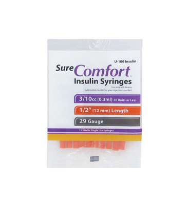 Sure Comfort 29 Gauge 0.3 cc 1/2 in Insulin Syringes - 10 ea