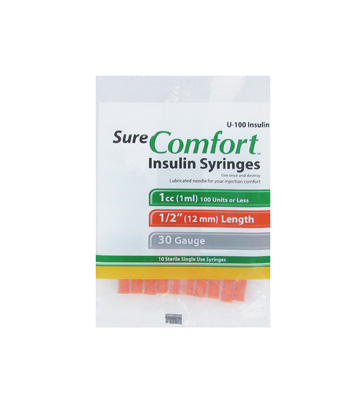 Sure Comfort 30 Gauge 1 cc 1/2 in Insulin Syringes - 10 ea