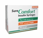 Sure Comfort 30 Gauge 1 cc 1/2 in Insulin Syringes - 100 ea 24-6210